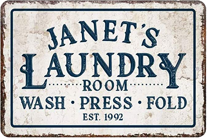 Amazon Com Maiyuan Personalized Laundry Room Decor Laundry Room Sign Wash Press Fold Metal Room Sign 8 X 12 Sign Home Kitchen