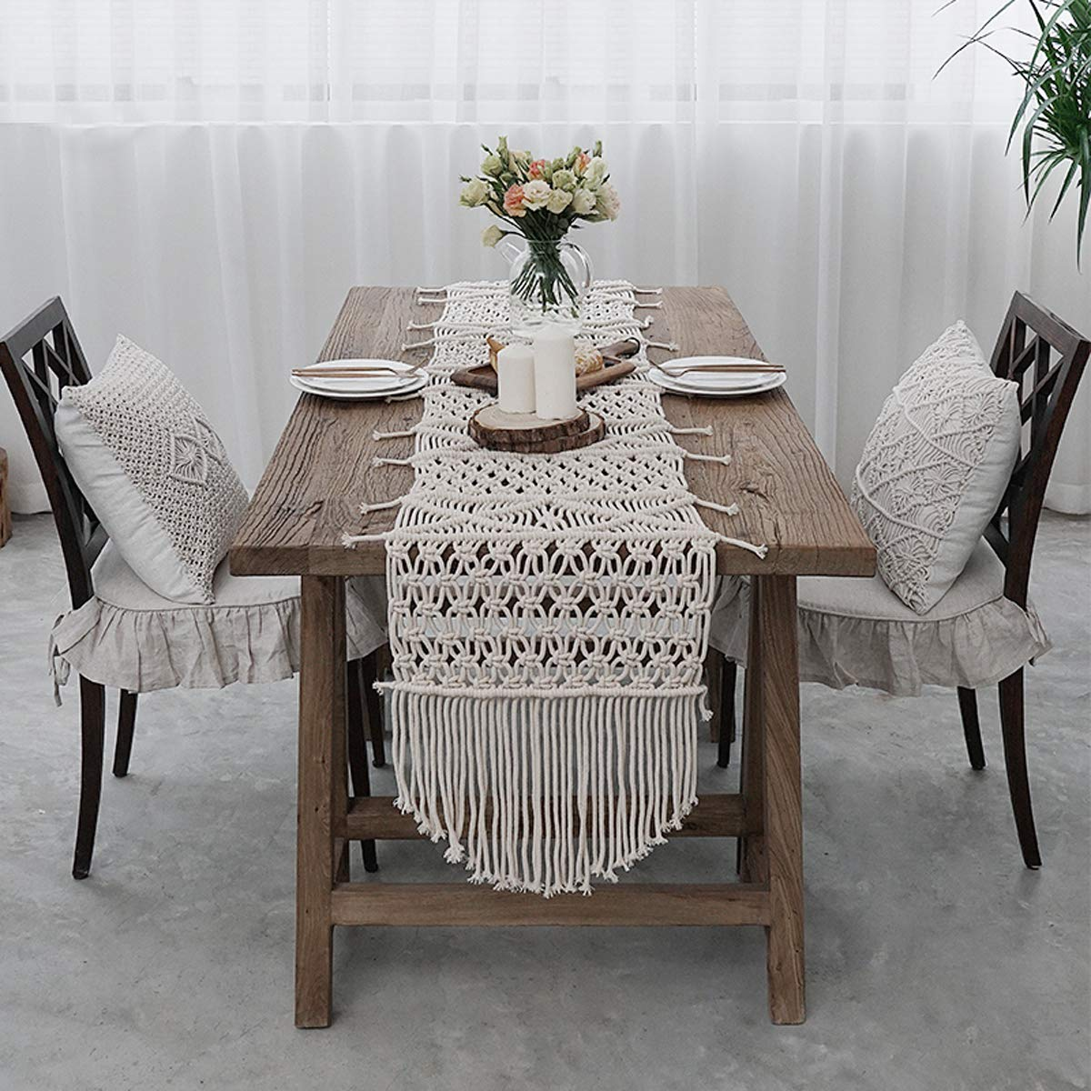 RISEON Bohemia Handmade Natural Macrame Table Runner, macrame table placement, Macrame table Centerpiece, Bed Runner Wedding Home Boho Decor (13.7''W x 102''L)