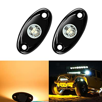 2 Pods LED Rock Lights, Ampper Waterproof LED Neon Underglow Light for Car Truck ATV UTV SUV Jeep Offroad Boat Underbody Glow Trail Rig Lamp (Yellow): Automotive