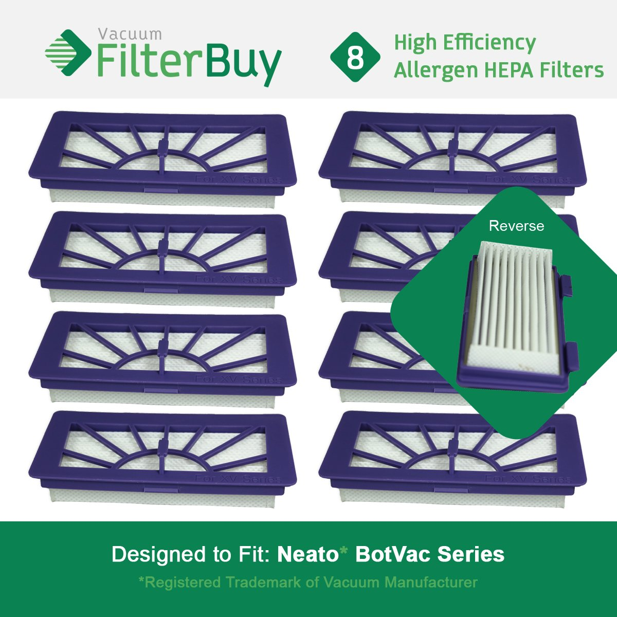 8 - Neato XV 21 Filters. Designed by FilterBuy to fit Neato XV Series Robot Vacuums LEPAC7492