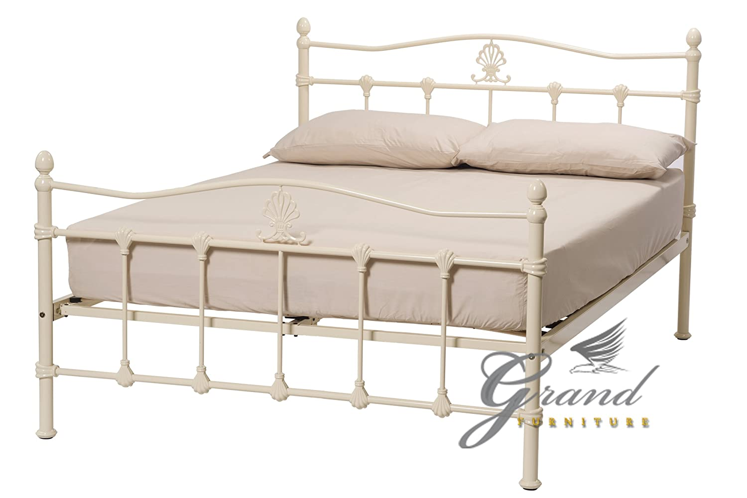 Exclusive Boston Victorian Style Cream Metal Bed Frames Double 4FT6 Retro Antique Bedsteads ROYALE COMFORT