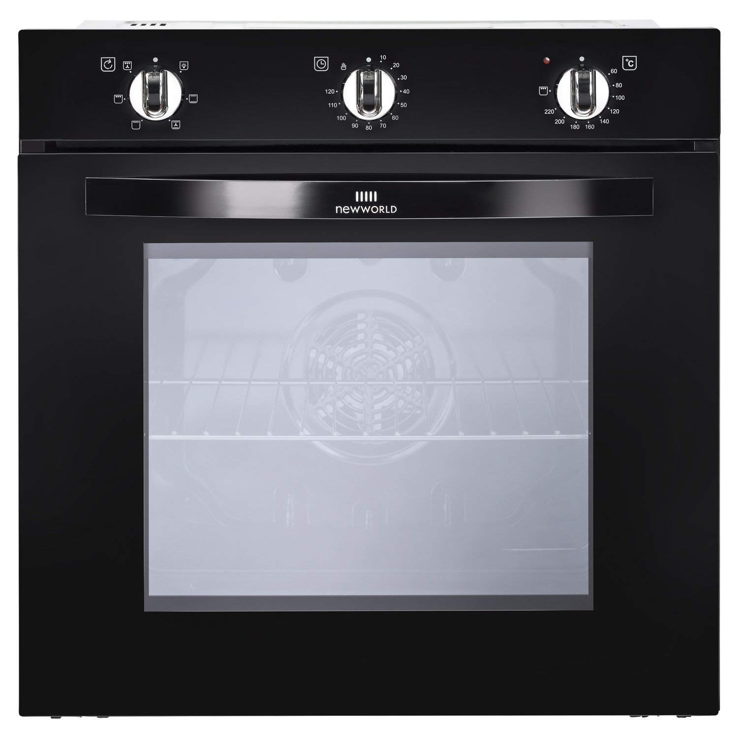 New World NW602F 73L Fanned-assisted Electric Single Oven - Black New World Ltd