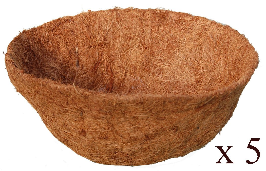 20-inch Hand Formed Hanging Basket Coco Fiber Liner C940-5L with Water Retainer – Pack of 5 Liners