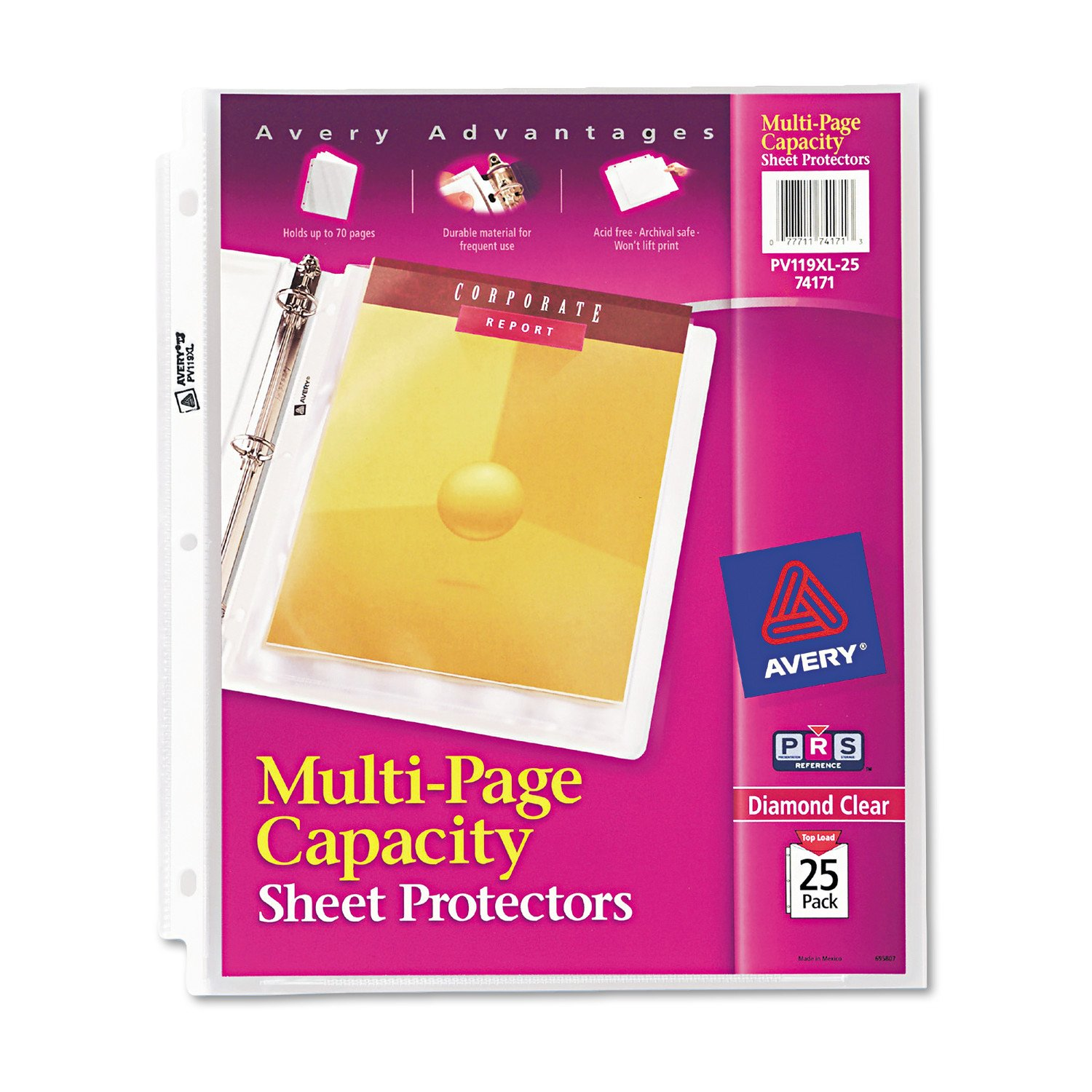 Avery Diamond Clear Multi-Page Capacity Sheet Protectors, PVC Free, Pack of 25 (74171)