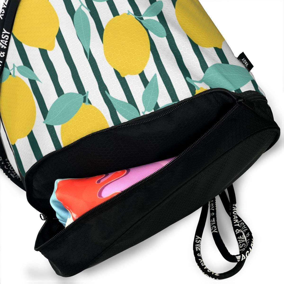 HUOPR5Q Seamless-Lemon Drawstring Backpack Sport Gym Sack Shoulder Bulk Bag Dance Bag for School Travel