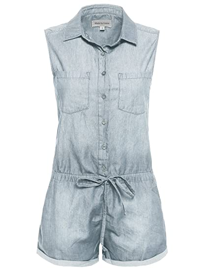 6eb4a43fcab Made by Emma Sleeveless Collared Romper w Adjustable Waist Drawstrings  Light S