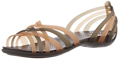 bb247850c crocs Women s Huarache Flat Women Bronze and Espresso Rubber Fashion Sandals  - W4 (14121-