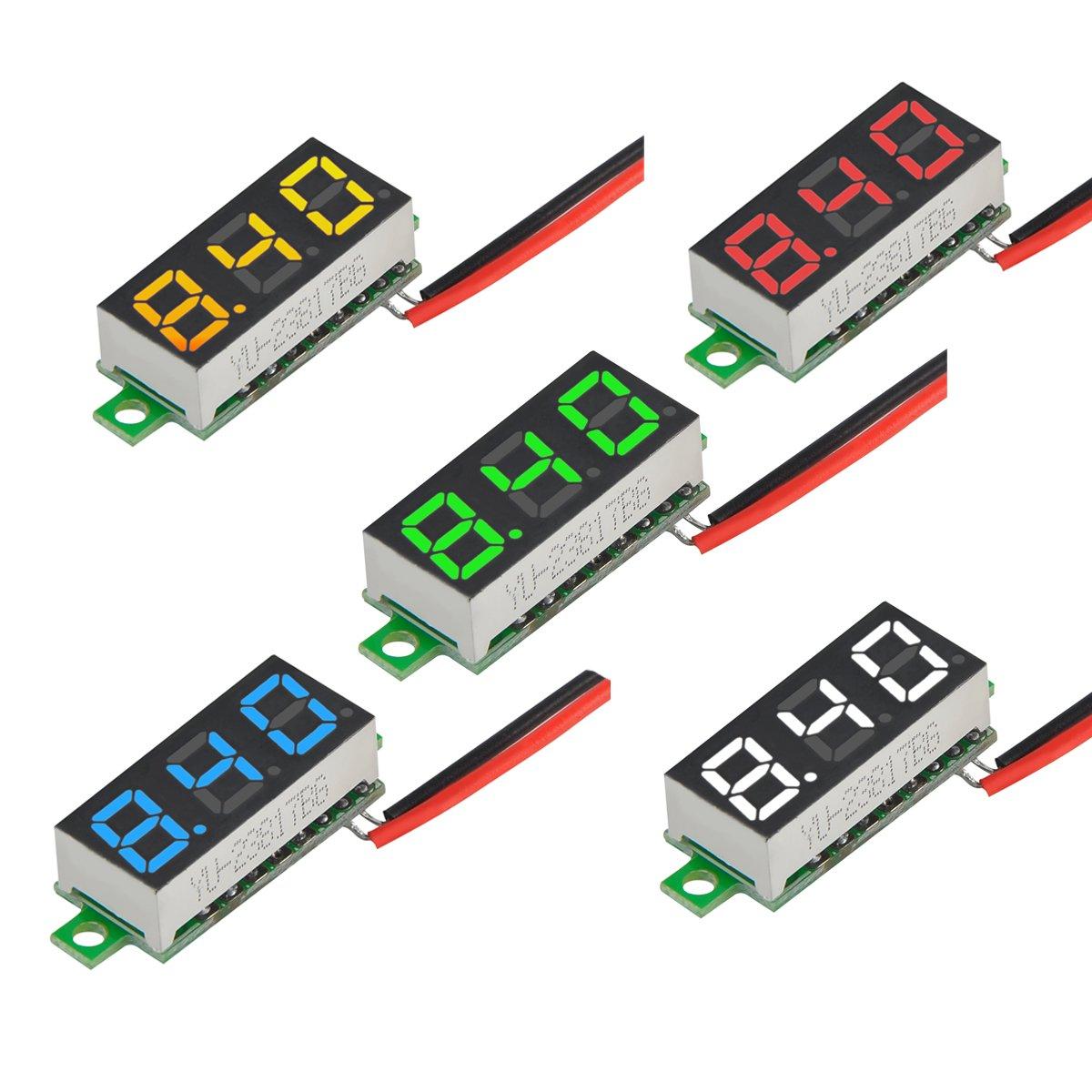 MakerFocus 5pcs Mini Digital DC Voltmeter 0.28 Inch Two-Wire 2.5V-30V Mini Digital DC Voltmeter Voltage Tester Meter 5 Colours by MakerFocus (Image #9)