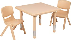 "Flash Furniture 24"" Square Natural Plastic Height Adjustable Activity Table Set with 2 Chairs"