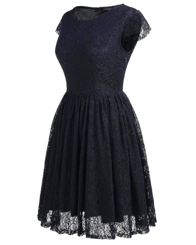 Homrain Damen Vintage 1950er Kleider Spitzenkleid knielang festlich ...