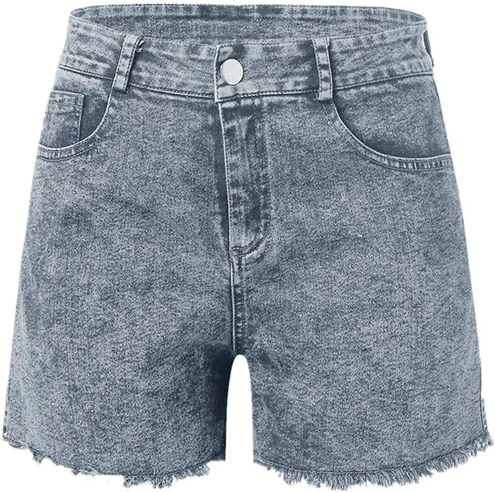 VEKDONE Women Denim Hot Shorts High Waist Frayed Ripped Raw Hem Summer Denim Shorts Jeans S-3XL