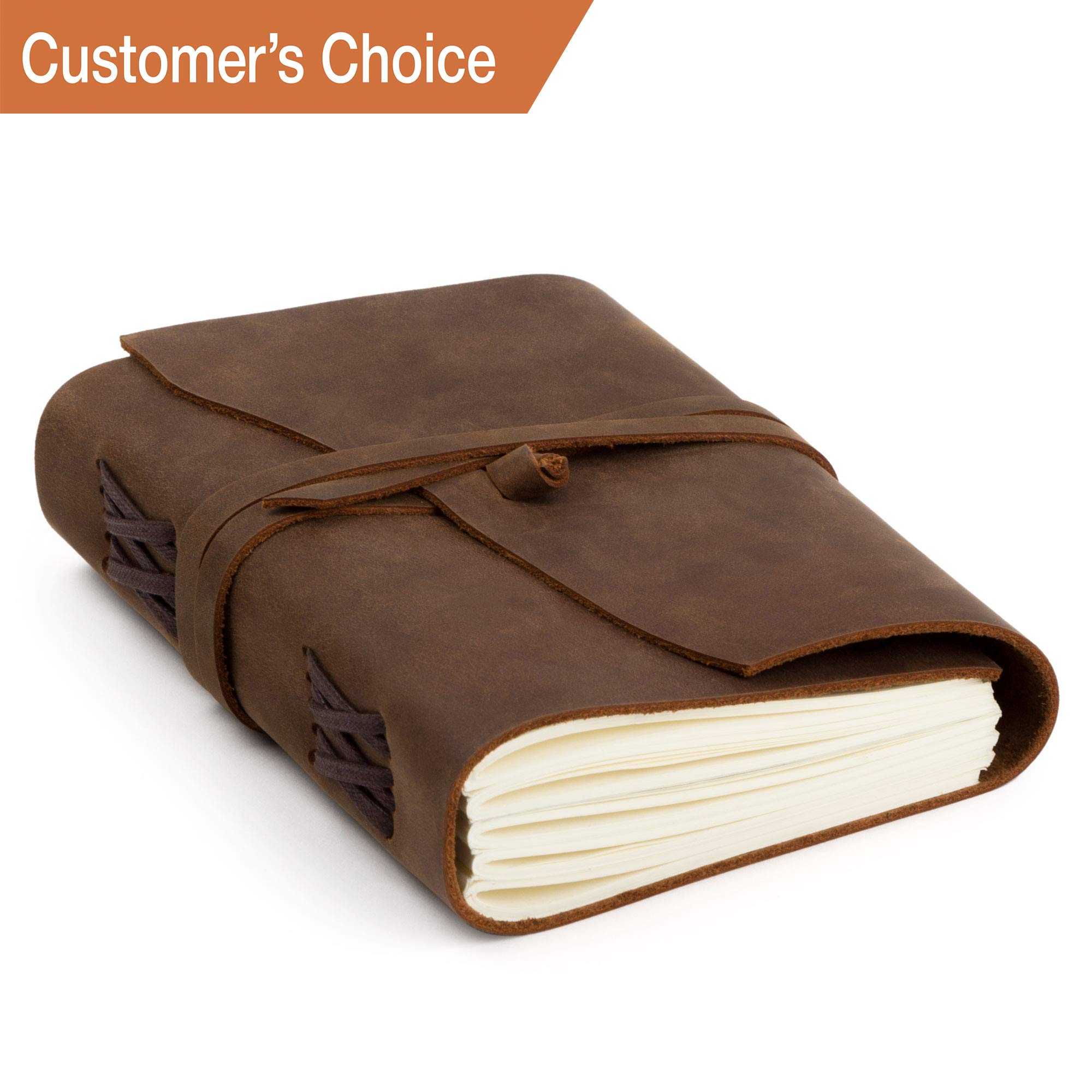 Leather Journal - Writing Notebook for Men & Women Leather Bound - Daily Notepad Art Sketchbook & Travel Journal - Best Gift Ideal Present - Vintage Dairy Unlined Paper Planner to Write in