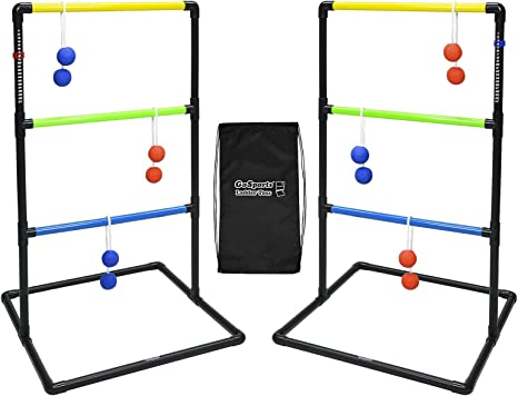 GoSports Pro Grade Ladder Toss Indoor/Outdoor Game Set with 6 Soft Rubber Bolo Balls, Travel Carrying Case