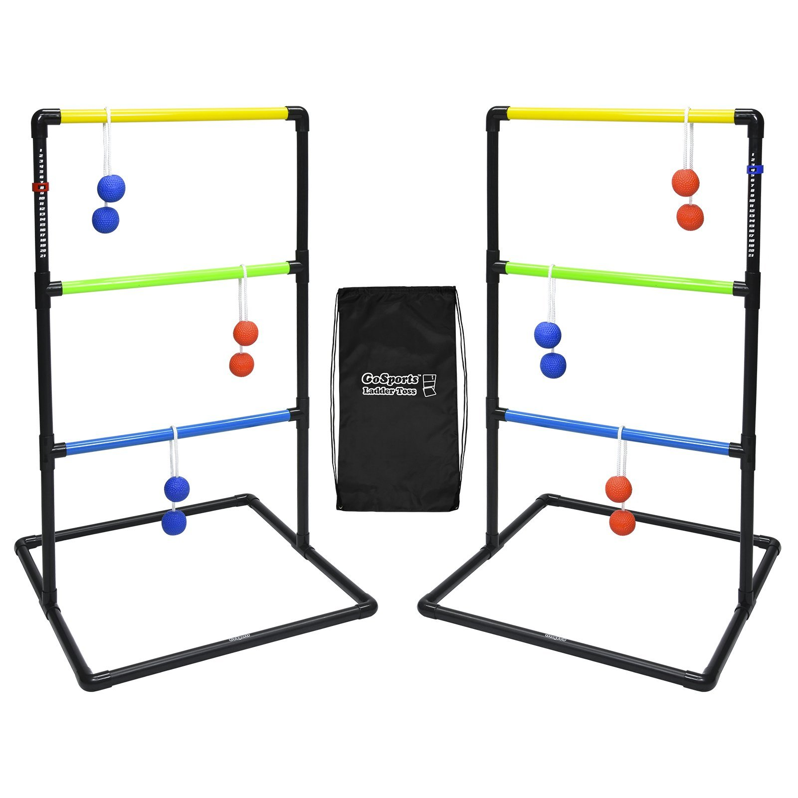 GoSports Indoor/Outdoor Ladder Toss Game Set with 6 Rubber Bolos, Carrying Case and Score Trackers by GoSports