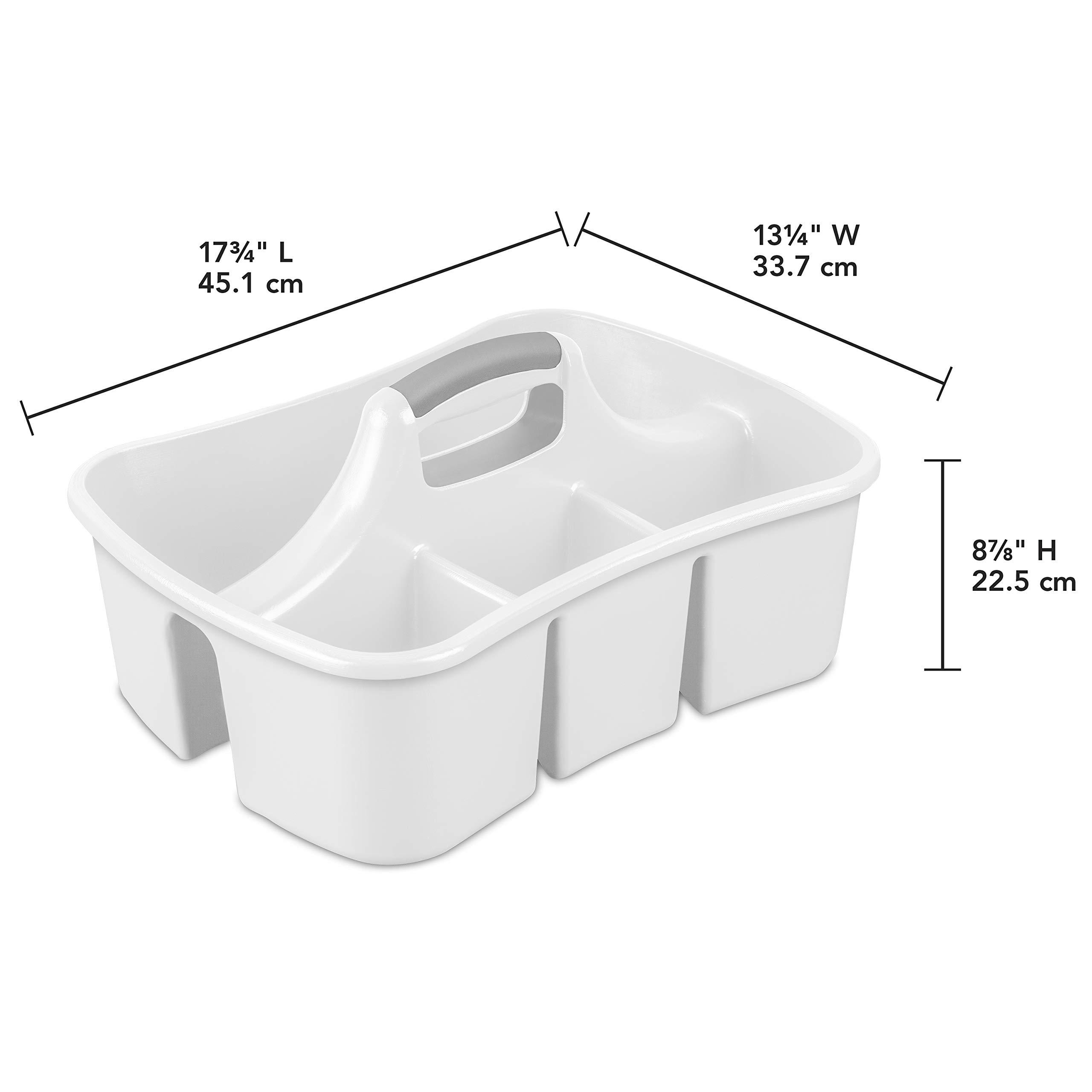 Sterilite 15888006 Divided Ultra Caddy, White Caddy w/ Titanium Insert, 6-Pack by STERILITE (Image #3)