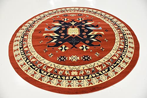 Unique Loom Taftan Collection Geometric Tribal Terracotta Round Rug 8 0 x 8 0