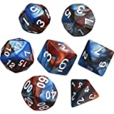 eBoot Polyhedral 7-Die Dice Set for Dungeons and Dragons with Black Pouch (Blue Brown)