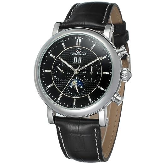 forsining automático de hombre calendario Fase de la luna reloj de muñeca fsg553 m3s2: Amazon.es: Relojes