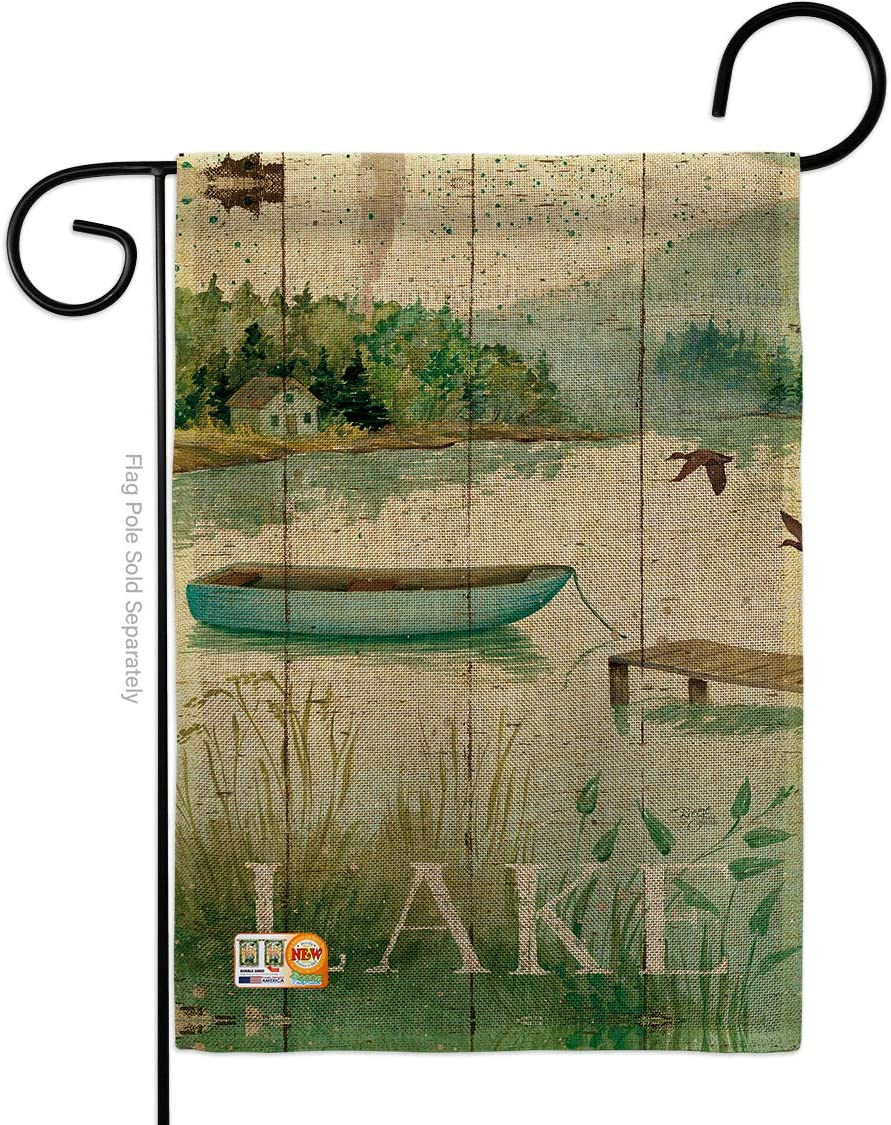 Breeze Decor Lodge at The Lakeside Garden Flag Outdoor Rustic Lake Cabin Moose Wildlife Adventure Forest Small Decorative Gift Yard House Banner Double-Sided Made in USA 13 X 18.5