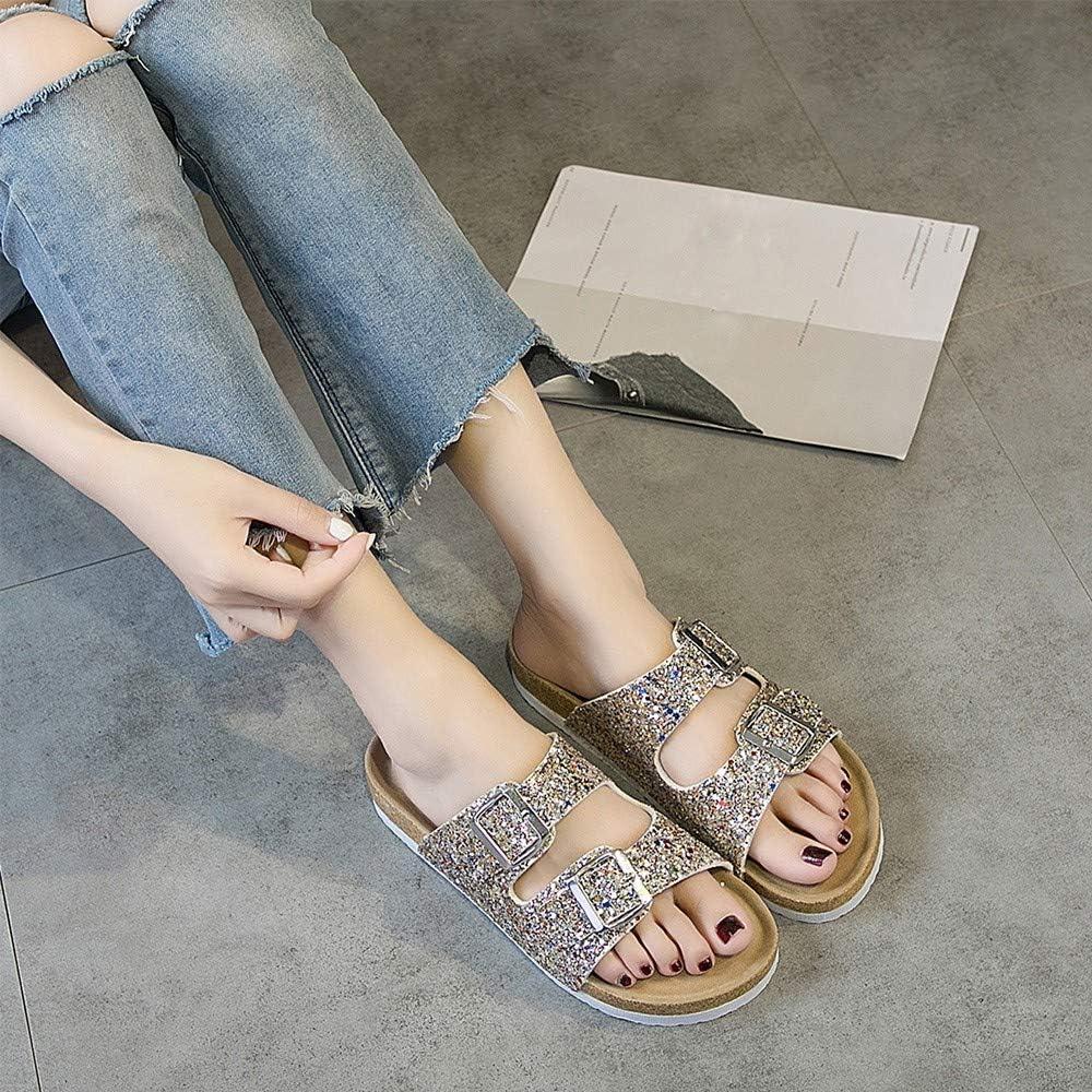 Alaso - Zapatos de mujer con lentejuelas para verano, para interiores y exteriores, zapatos de playa dorado 39: Amazon.es: Ropa y accesorios