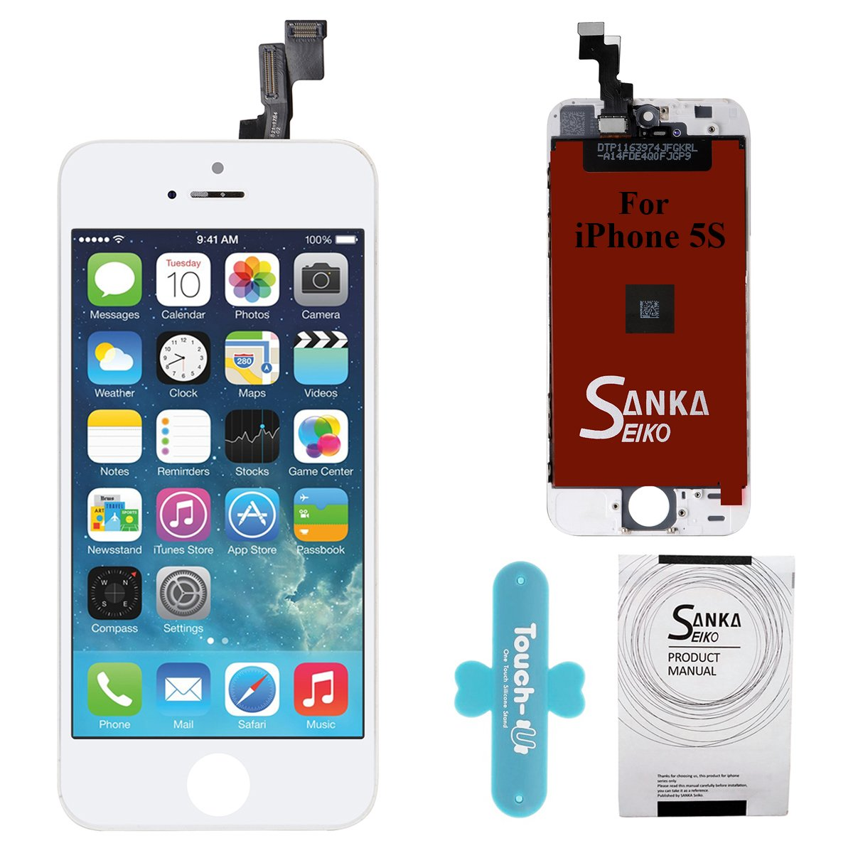 SANKA iPhone 5S LCD Screen Replacement White, Digitizer Display Retina Touch Screen Glass Frame Assembly for iPhone 5S - White (Free Tools Included)