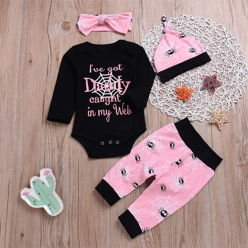 4Pcs Baby Girls Outfits Set Letter Romper Spider Pants Hat Headband Spring Clothes 0-24M