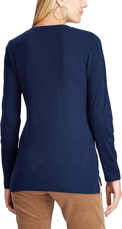 Chaps Womens Petite Long Sleeve Cotton Rib-Knit Henley Shirt