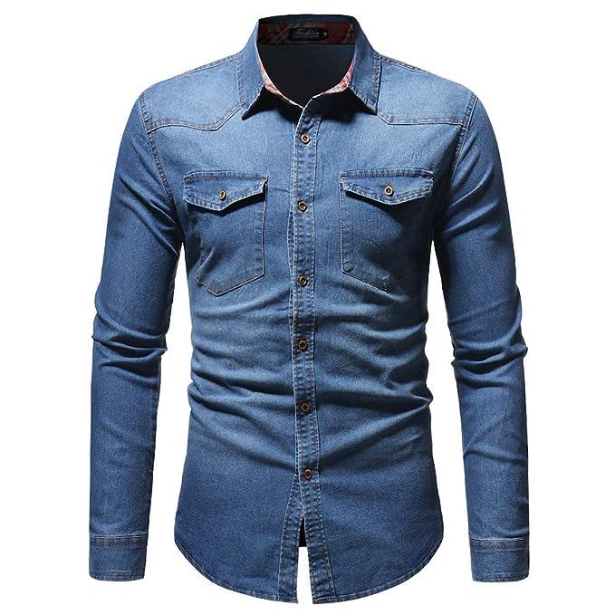 BaZhaHei-Blusa de hombre, Blusa Superior de la Camisetas de la Manga Larga del