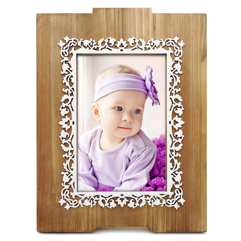 Wooden Picture Frame 4x6, Fantastic Lace Pattern, Laser Cut Dimensional Layered Wood Profile, Tabletop Vertically Display with Real Glass, Natural Wood Color by AugeHome (Image #1)