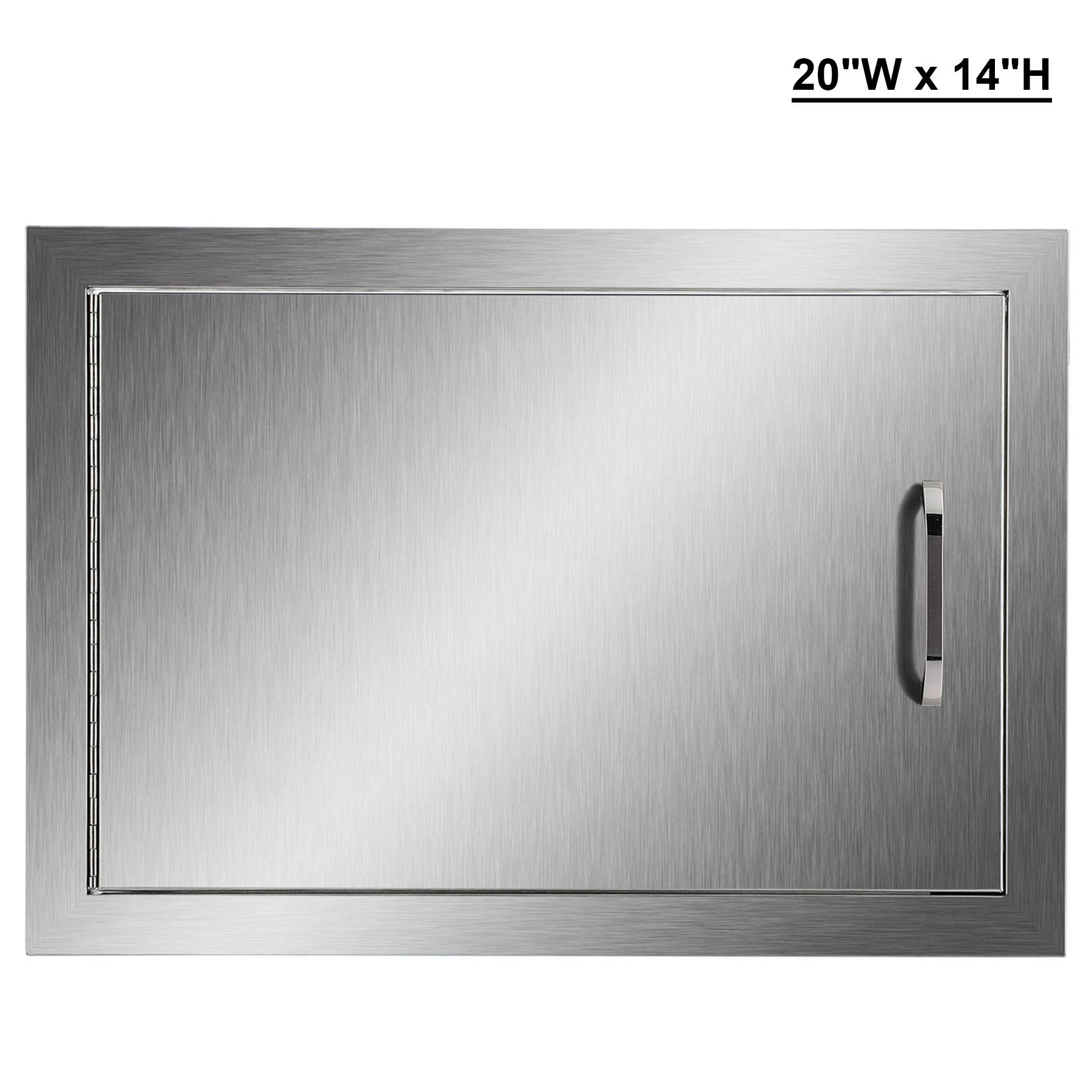 CO-Z Outdoor Kitchen Doors, 304 Brushed Stainless Steel Single Access Doors for Outdoor Kitchen, Commercial BBQ Island, Grilling Station, Outside Cabinet, Barbeque Grill, Built-in (20'' W x 14'' H)
