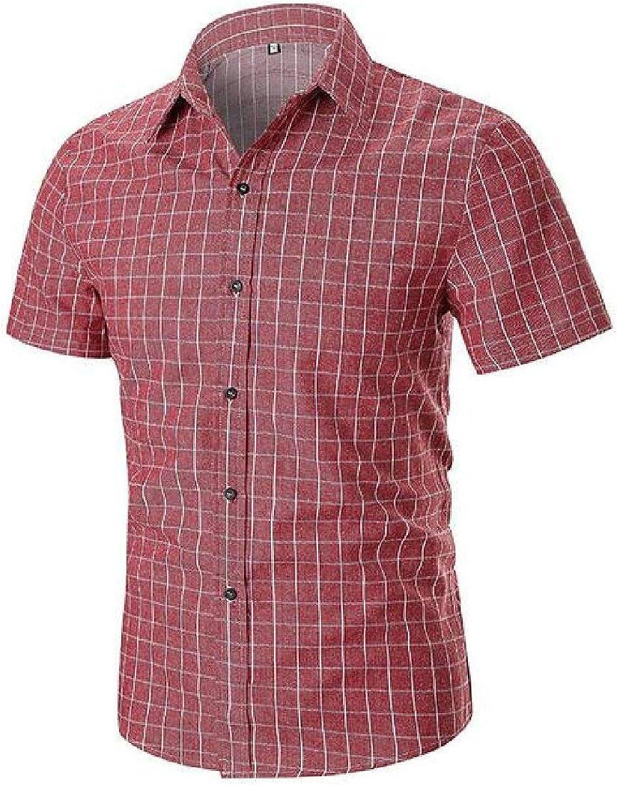 Fubotevic Mens Plaid Slim Button Down Short Sleeve Shirts