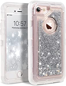 Dexnor iPhone 8 Case, iPhone 7 Case, iPhone 6s Case, Glitter 3D Bling Sparkle Flowing Liquid Case for Girls Transparent 3 in 1 Shockproof TPU Silicone + PC Case Cover for iPhone 8/7/6s/6 - Silver