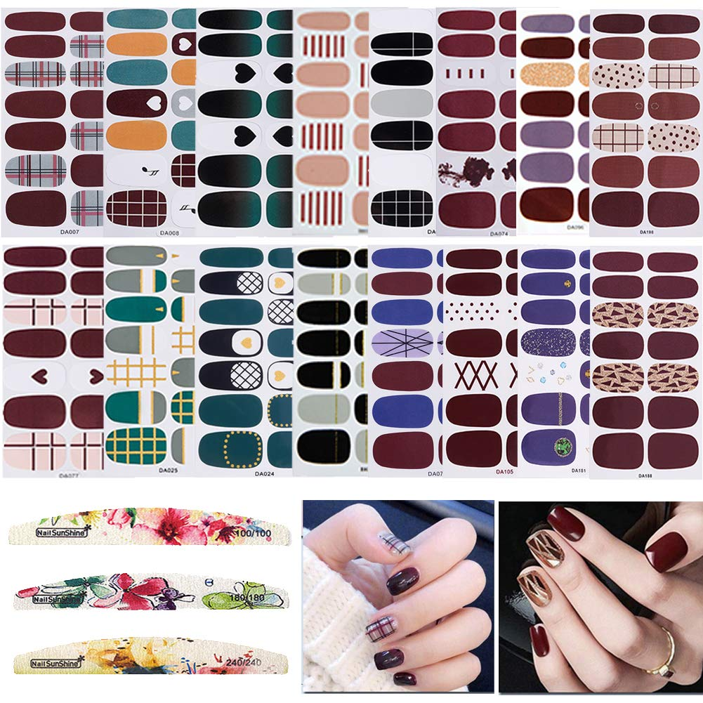 16 Sheets Full Wraps Nail Polish Stickers,Self-Adhesive Nail Art Decals Strips Manicure Kits With 3Pc Nail Buffers Files for Women Girls by TYLCC