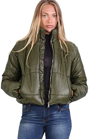 fdcdcb555c5 PILOT Women's Cropped Puffer Jacket in Khaki Green at Amazon Women's Coats  Shop
