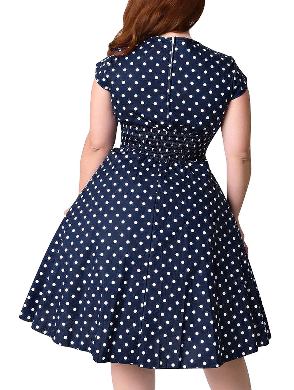 71b09d22225 Nemidor Women s 1950s Style Cap Sleeve Polka Dot Summer Vintage Plus Size  Swing Rockabilly Dresss at Amazon Women s Clothing store