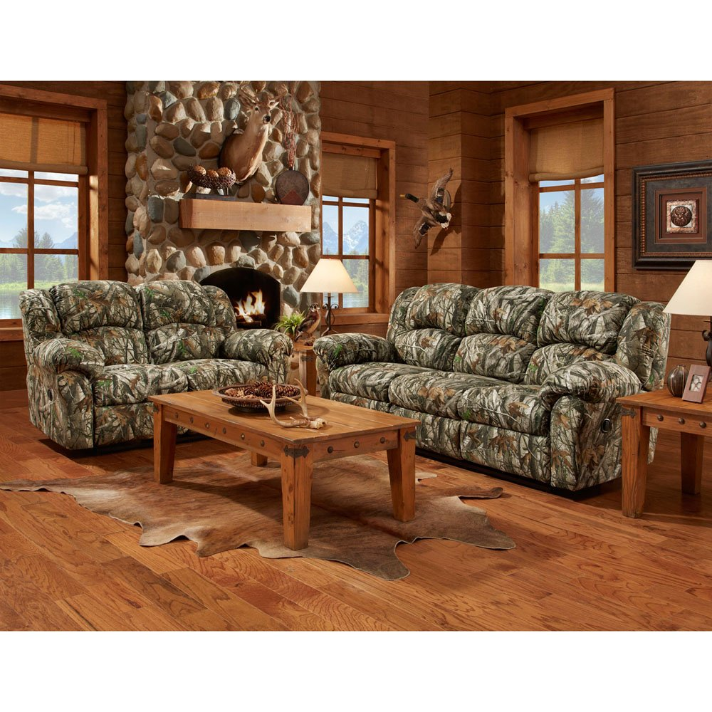 Amazon com  Cambridge Camo 3 Piece set Sofa Loveseat Recliner Living Room Furniture Sets Kitchen Dining