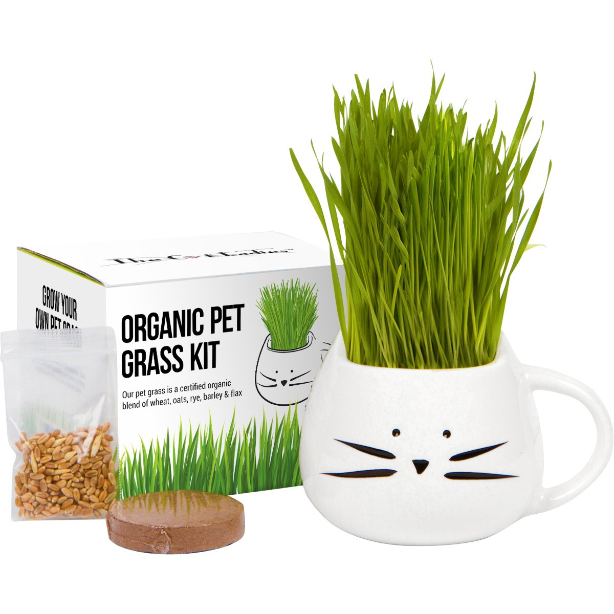 Organic cat grass growing kit with organic seed mix, organic soil and cat planter. Great gift for pet lovers & makes a great gift for pet. Natural hairball control and remedy. Manufactured in the USA.