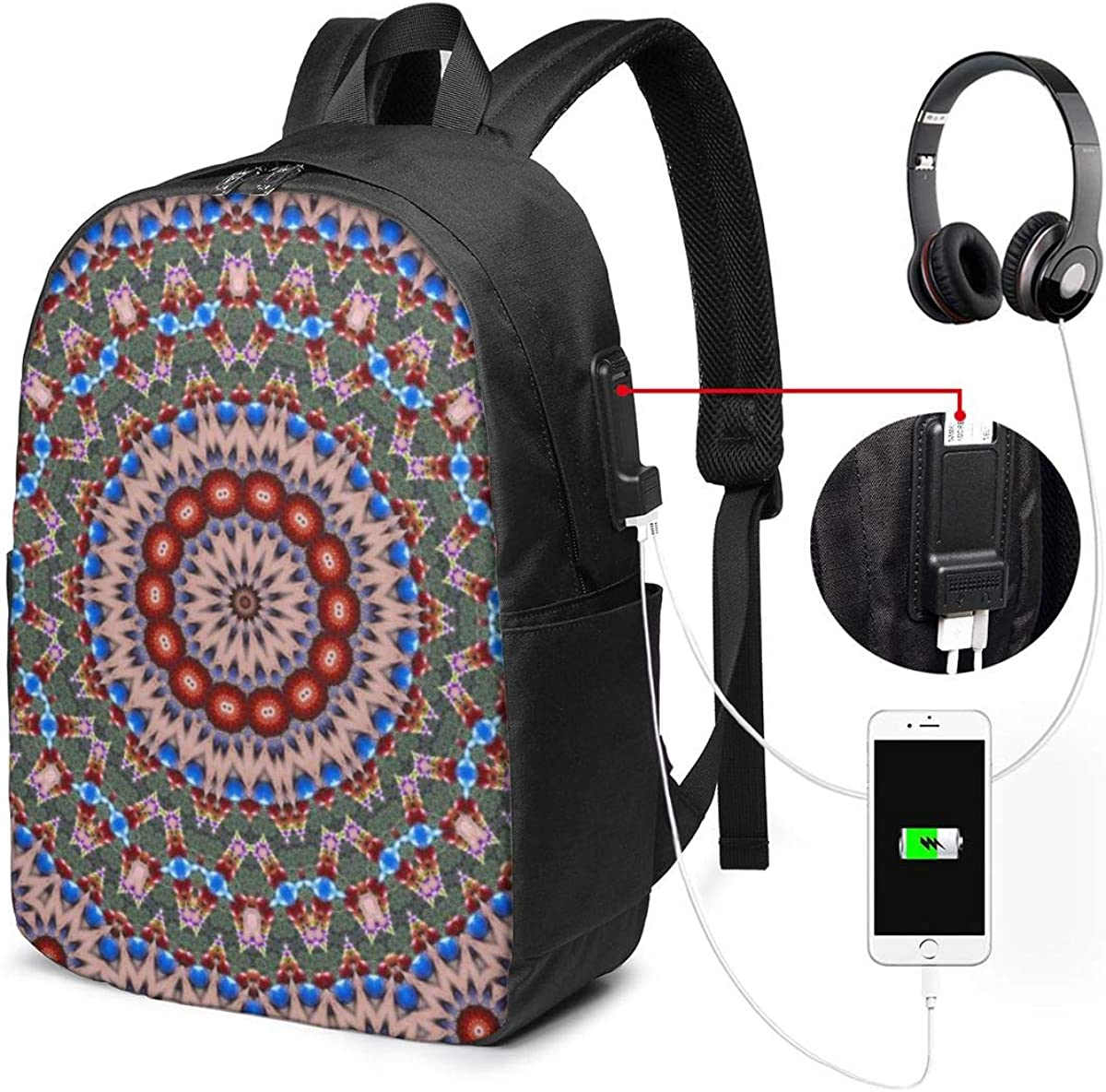 Durable Laptop Backpack 17 Inch Travel Backpack Bookbag With Usb Charging Port For Women /& Men Fits Laptop And Notebook,Abstract Colorful Background Pattern