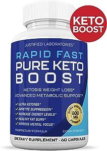 Rapid Fast Pure Keto Boost Pills Advanced BHB Ketogenic Supplement Exogenous Ketones Ketosis for Men Women 60 Capsules 1 Bottle