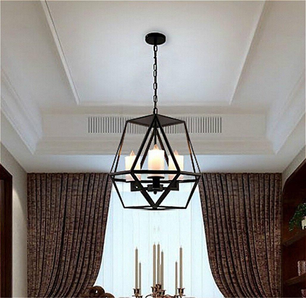 Ladiqi Industrial Pendant Light Vintage Wrought Iron Cage Chandelier Lights Fixture