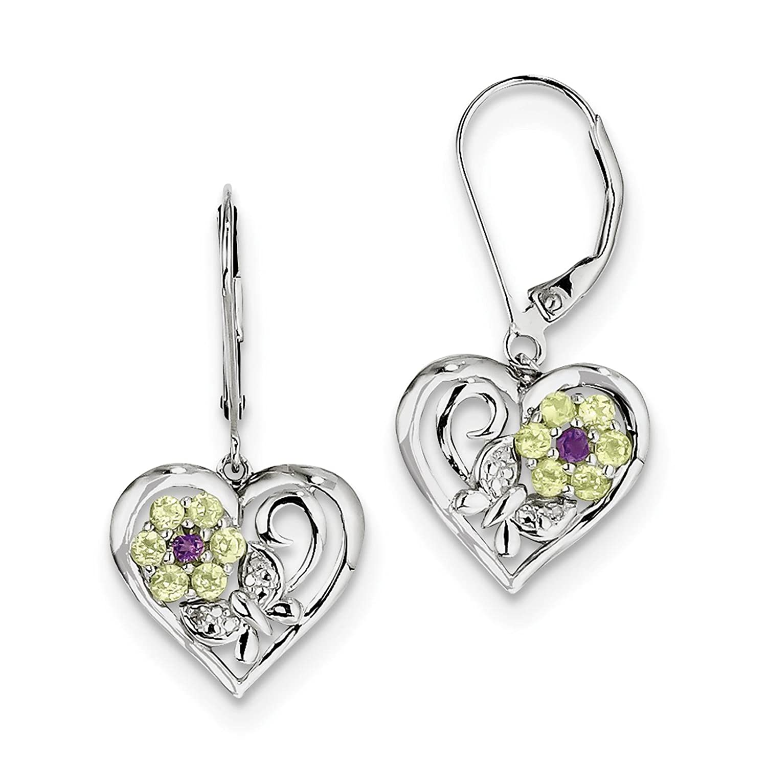 925 Sterling Silver Rhodium-plated Amethyst Peridot /& Diamond Earrings