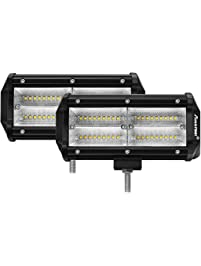Amazon light bars accent off road lighting automotive led light bar autofeel amber white quad row 2 pcs 7 inch dual color aloadofball Image collections