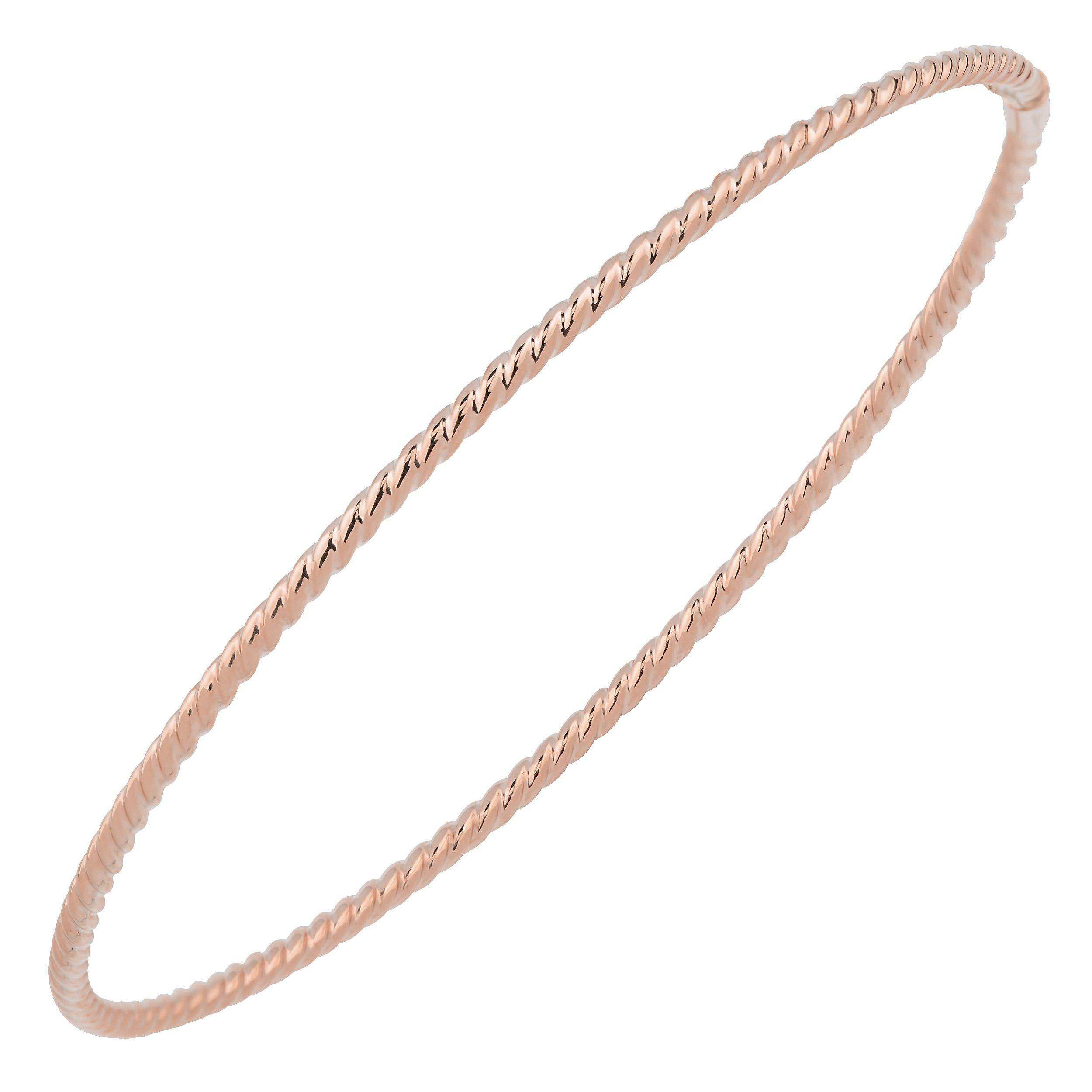 14k Rose Gold 2mm High Polish Twist Design Slip-on Bangle Bracelet