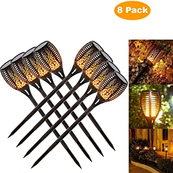 luces jardin solares exterior, luces decorativas, luz de la antorcha del LED, luz del camino del jardín, efecto de llama que oscilan realista, prenda impermeable IP65 (8 pack): Amazon.es: Iluminación