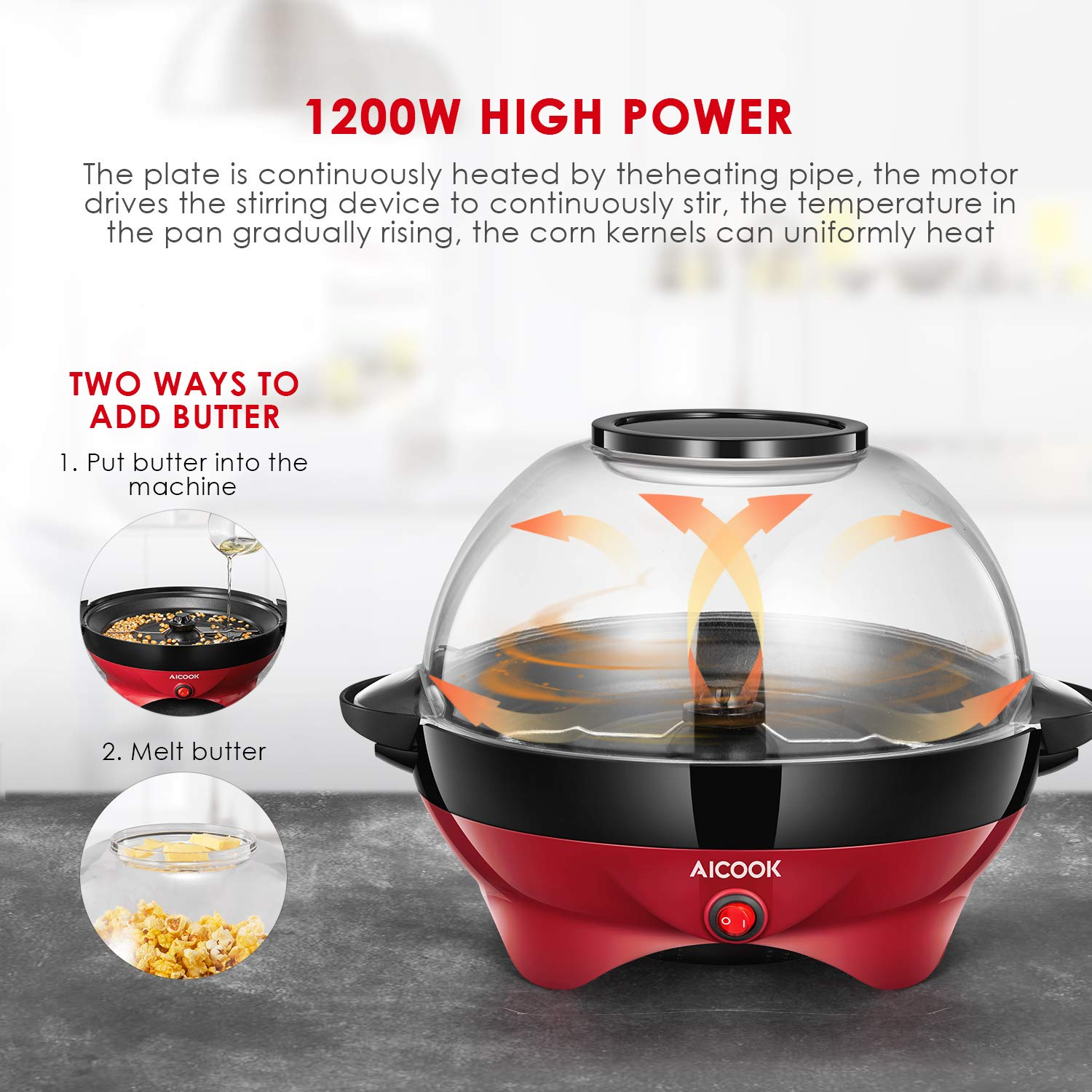 Popcorn Maker, AICOOK Electric Hot Oil Popcorn Popper Machine with Stirring Rod Offers Large Lid for Serving Bowl and Convenient Storage, 6-Quart, Red by AICOOK (Image #4)