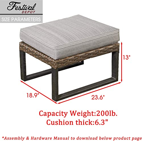 Festival Depot Dining Outdoor Patio Bistro Furniture Ottoman Footstool with Premium Fabric Soft 6.3 Cushion Wicker Rattan Rectangle Metal Slatted Steel Leg Foot Rest for Garden Yard Lawn All-Weather