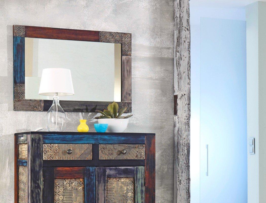 expendio Wandspiegel Punjab 90x60x3 cm Akazie Metall ...