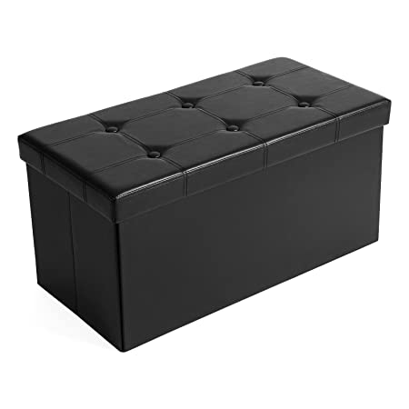 SONGMICS 30 Inches Faux Leather Folding Storage Ottoman Bench, Storage Chest Footrest Coffee Table Padded Seat, Black ULSF105
