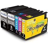 OfficeWorld Reemplazo para HP 932XL 933XL Cartuchos de Tinta Alta Capacidad para HP Officejet 6100 6600 6700 7110 7610 7612 [Por favor Nota 7510 7512 No se puede utilizar] (2 Negro, 1 Cian, 1 Magenta, 1 Amarillo)