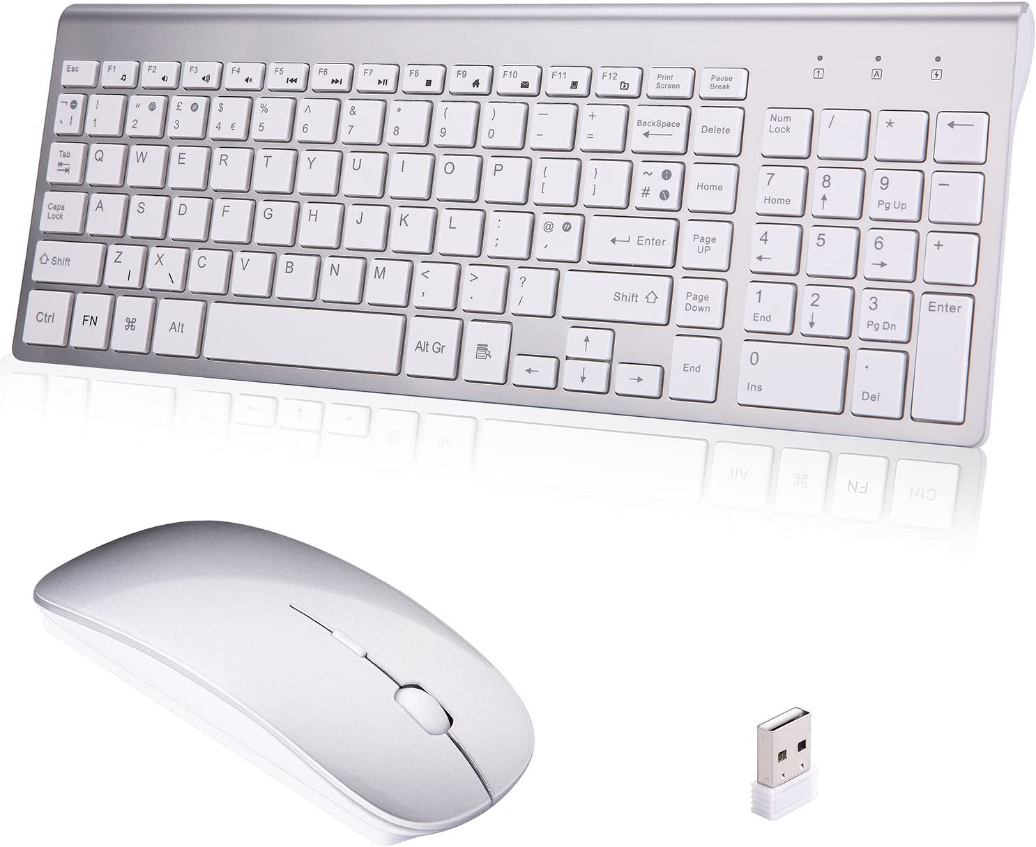 for PC Ultra Slim 2.4G Full-Size Keyboard and Mouse Combo Whisper-Quiet Computer Color : White Desktop Wireless Keyboard and Mouse Set Laptop Notebook